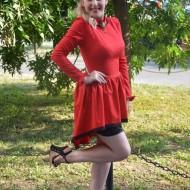 Rochie de ocazie, rosie cu inserti de dantela neagra