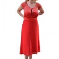 Rochie de ocazie rosie, disponibila in serie mare, cu insertii pietre