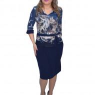 Rochie de ocazie Umma cu imprimeu abstract,bleumarin