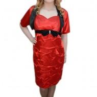 Rochie de seara, de nuanta rosu-negru, in V, cu design incretit