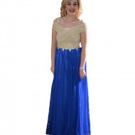 Rochie de seara din tul albastru si tesatura aurie cu fronseuri