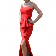 Rochie de seara lunga, culoare rosie, cu bretele detasabile
