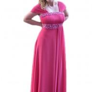 Rochie de seara lunga roz, decorata cu insertie de margele