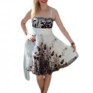 Rochie de seara scurta, model in degrade cu alb si plamaniu
