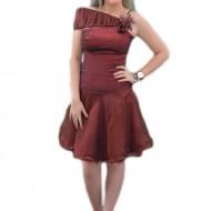 Rochie de seara scurta, model one-shoulder de culoare visinie