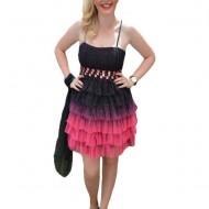 Rochie de seara scurta, neagra cu roz, model mini cu insertii de strasuri