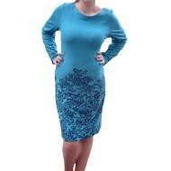 Rochie de toamna-iarna cu maneca lunga, de culoare turcoaz