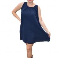 Rochie de vara Aase cu aplicatii de voal ,nuanta de bleumarin