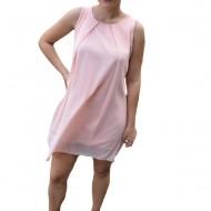 Rochie de vara Aase cu aplicatii de voal ,nuanta de roz deschis