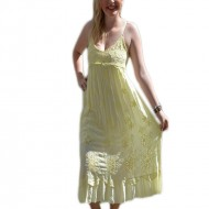 Rochie de vara galbena, cu decolteu drept si bretele subtiri