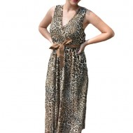 Rochie de vara, Irina cu imprimeu animal print si cordon in talie,nuanta de maro