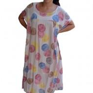 Rochie de vara,vaporoasa Alice model cu buline colorate,nuanta de pudra