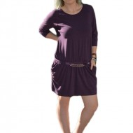 Rochie de zi, casual, cu buzunare, disponibila in nuanta de mov