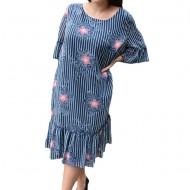 Rochie de zi vaporoasa Ameline,nuanta de bleumarin