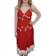 Rochie deosebita cu aspect creponat, rosie, cu detalii albe
