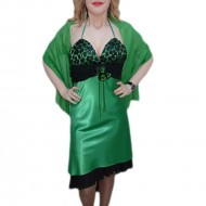 Rochie deosebita, nuanta de verde, dantela neagra