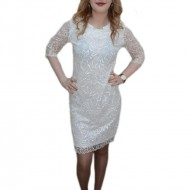 Rochie din dantela rafinata, nuanta de alb, fermoar