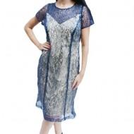 Rochie elegant de zi ,nuanta bleumarin-bej