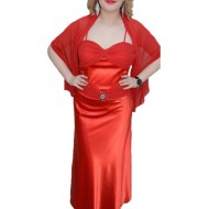 Rochie eleganta, de culoare rosie, din saten cu detalii din voal