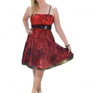 Rochie eleganta de seara, de culoare rosie cu broderie florala neagra