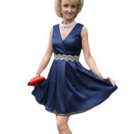 Rochie eleganta din material subtire, lucios, nuanta bleumarin
