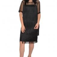 Rochie eleganta Fenna cu franjuri ,plasa cu buline mici partea de sus,nuanta de negru