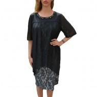 Rochie eleganta Kayla cu aplicatii de margele,nuanat de negru