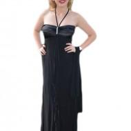 Rochie eleganta lunga, model simplu, cu o mica trena, pe negru