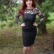 Rochie eleganta, nuanta de negru, dantela fashion aplicata