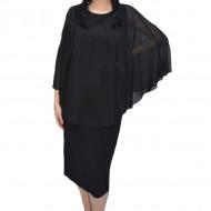 Rochie eleganta Olivia din voal si insertii de strasuri,negru