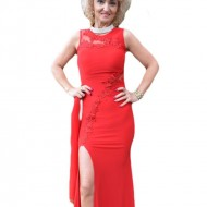 Rochie eleganta, rosie, model lung din material elastic