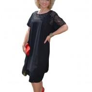 Rochie fashion cu voal larg si dantela cu paiete, nuanta neagra