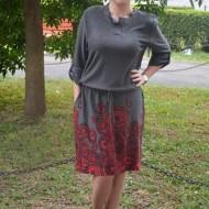 Rochie fashion, de culoare gri, cu maneca trei sferturi