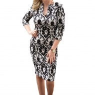 Rochie fashion de ocazie, culoare alb-negru, cu croiala cambrata