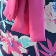 Rochie feminina ,cu imprimeu in tendinte roz alb si bleo