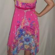 Rochie feminina de vara, in nuanta de roz, croi asimetric