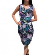 Rochie feminina, negru-multicolora, cu croi lejer pe silueta, cu design nonfigurativ