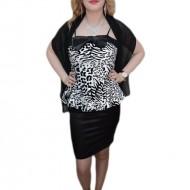 Rochie la moda, nuanta de negru-alb, animal print chic