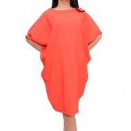 Rochie larga, rosie, cu croi usor asimetric si buzunare ascunse