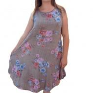 Rochie lejera de lungime medie, croi asimetric, culoare maro