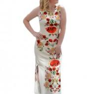 Rochie lunga de zi din in, de culoare bej cu imprimeu floral