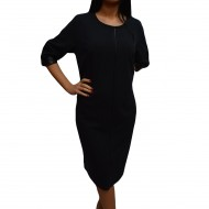 Rochie rafinata, bleumarin cu insertii de piele ecologica neagra