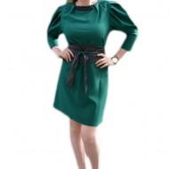 Rochie rafinata, de culoare verde inchis cu insertii de piele