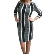 Rochie rafinata de zi cu design de dungi verticale, negru-alb-gri
