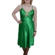 Rochie rafinata, nuanta de verde, decolteu in V cu cristle argintii