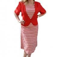 Rochie rosie cu imprimeu geometric alb, tip costum cu sacou