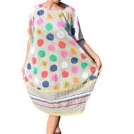 Rochie Ruenilde, din bumbac, imprimeu cu buline colorate, nuanta crem