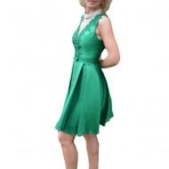 Rochie scurta de seara cu aplicatii de dantela, nuanta de verde