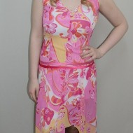 Rochie tinereasca cu croiala asimetrica, nuanta roz, talie alungita
