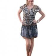 Rochie tinereasca nuanta maro cu design animal-print bleumarin